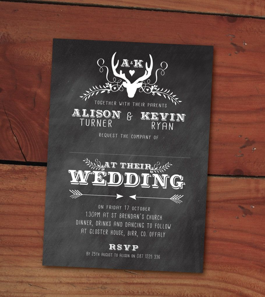 Design Our Day Wedding Stationery - Oh My Deer 5 x 7 wedding invitation