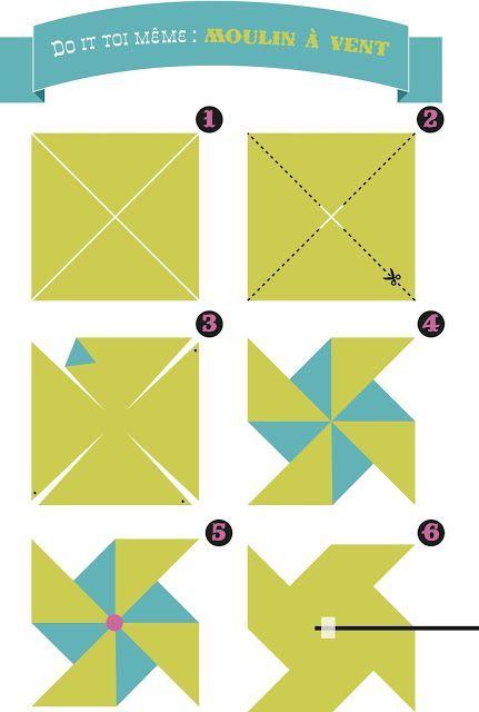Moulins vent en papier id e loisir pinterest - Comment fabriquer un moulin a vent en papier ...