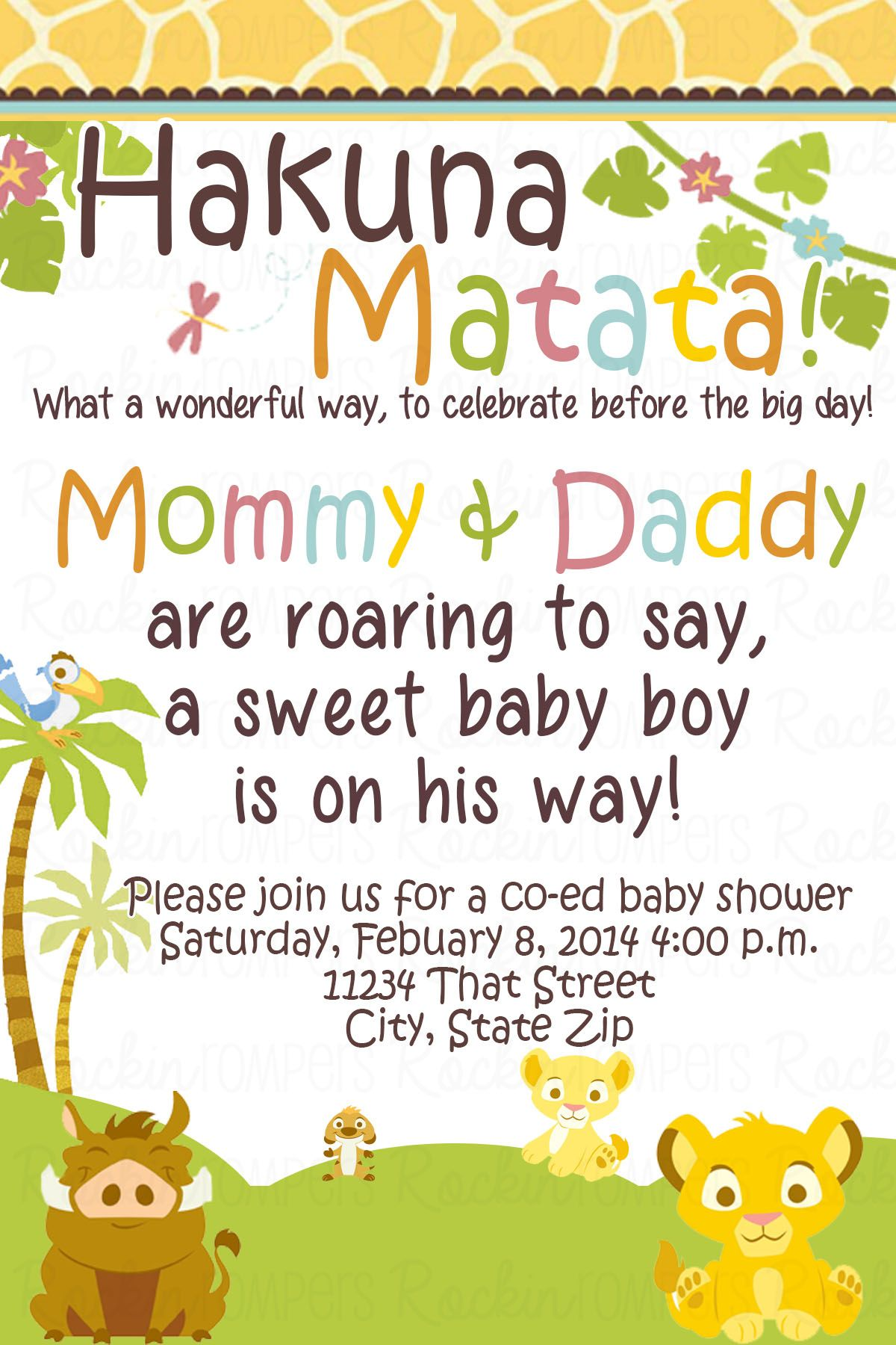 Lion King Baby Shower Invitation www.facebook.com/rockinrompers www ...