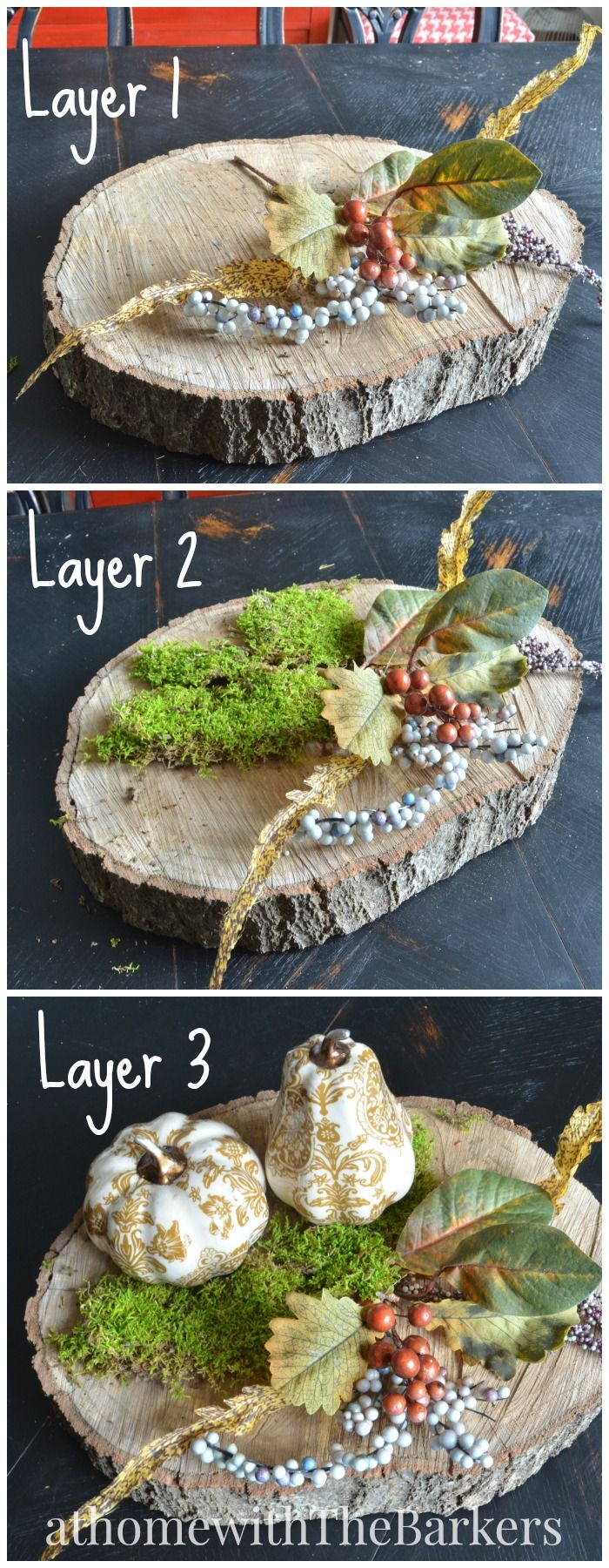 Easy steps for layering a Fall Centerpiece