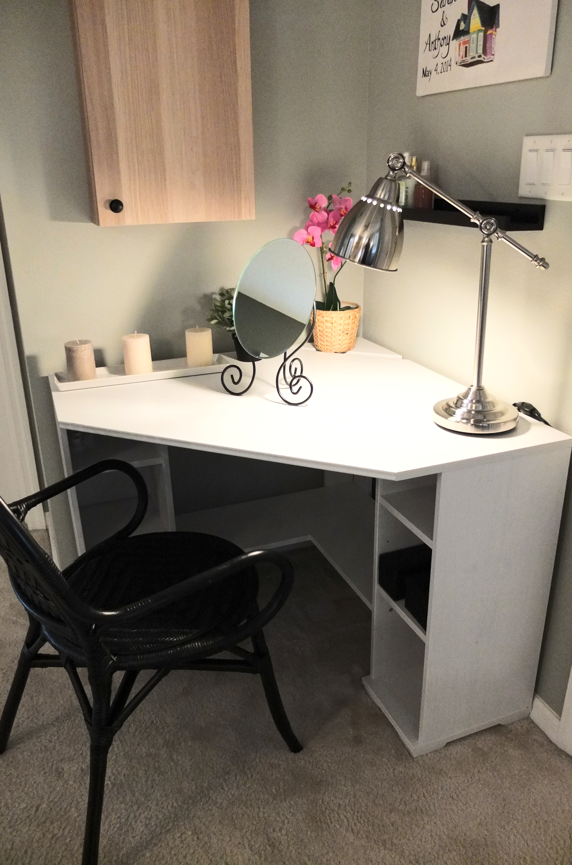 The borgsjÖ corner desk tucks neatly in a corner with enough top