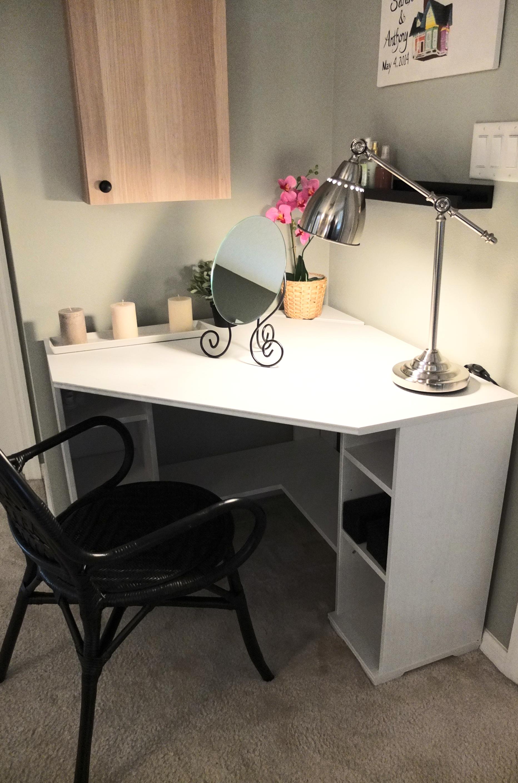 Borgsj Corner Desk Tucks Neatly In With