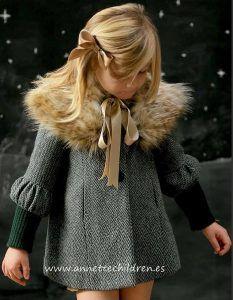 Abrigo Con Cuello De Pelo De Foque Moda Infantil Ropa Para Niñas Moda Para Niñas