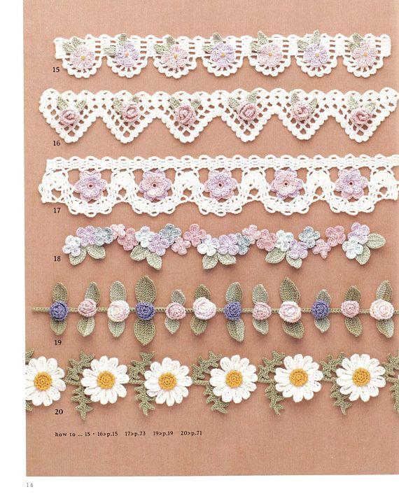 98 Flower Crochet Motif Pattern - Japanese Book - Crochet Motif pattern, Blades, Edgings, Corsage - ebook - Instant Download