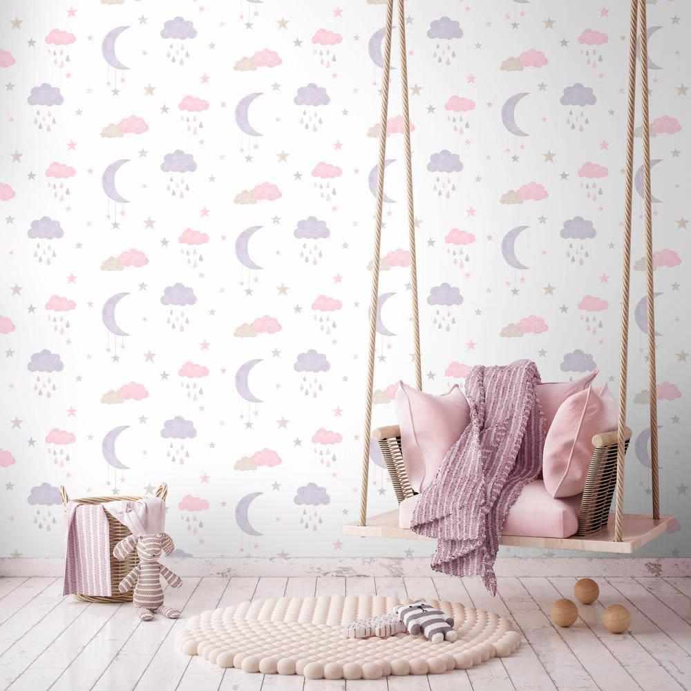Madchenzimmer Wolken Sterne Mond Ecodeco Niedlich Pastell In 2020 Tapeten Wolken Rosa Grau