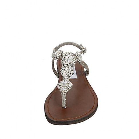 17d3eae1d36 steve madden glaare flat sandals in metallic lyst  WeddingShoes   SilverSteveMadden