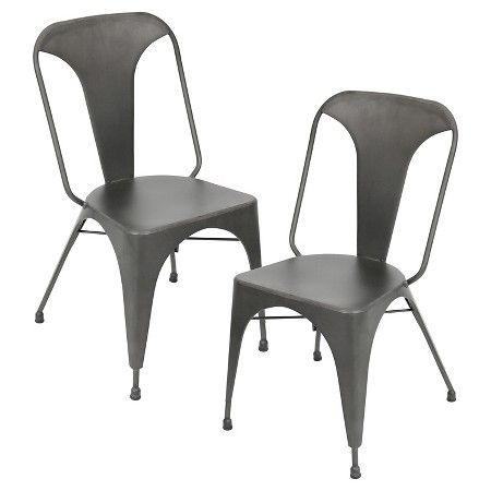 Austin Industrial Dining Chair Metal Grey Set Of 2 Lumisource