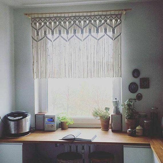 Macrame Kitchen Curtain Custom Short Macrame Wall Hanging Hollywood Regency Curtains Rustic