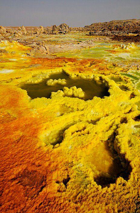 Sulfur bed, Dallol hydrothermal field ~ Danakil Depression, Ethiopia, East Africa....