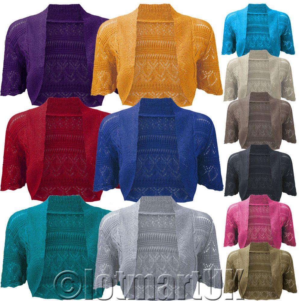 4.99 Ladies Bolero Shrug Crochet Knitted Cardigan Womens Top ...