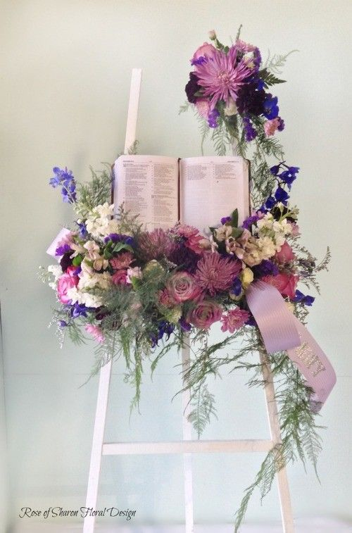 Open Bible Tribute By Rose Of Sharon Floral Designs Funeral Floral Funeral Flower Arrangements Flower Arrangements