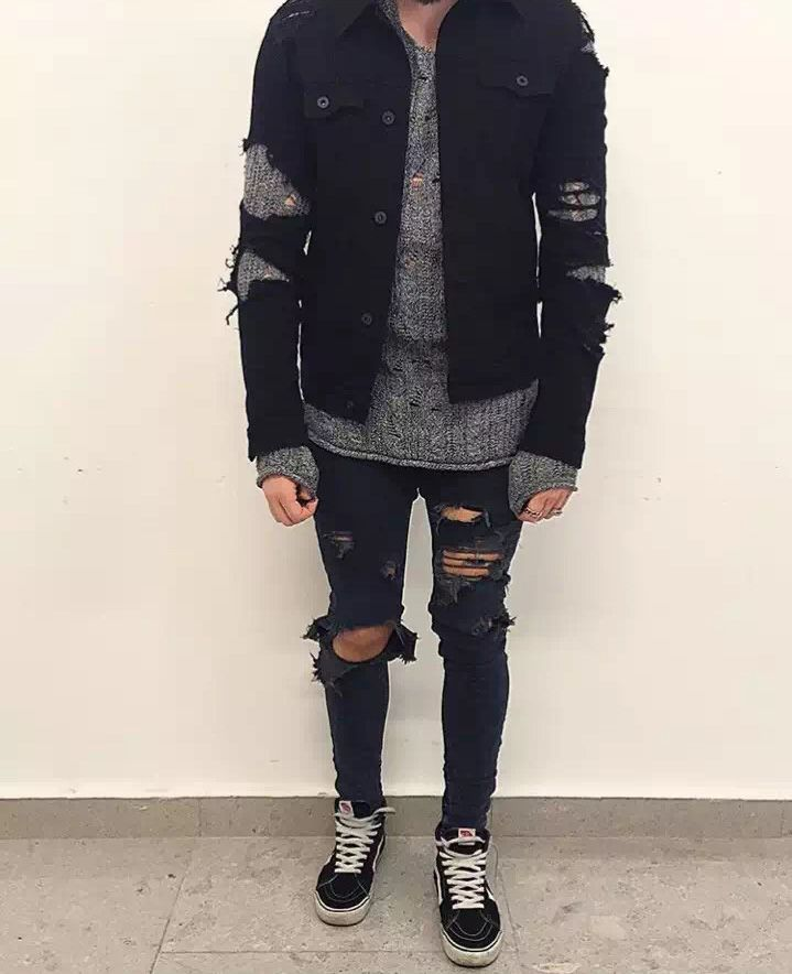 15810efa KMO streetwear hip hop 30-38 Blue/black ankle zipper denim pants stretch  designer mens fashion skinny ripped jeans for men