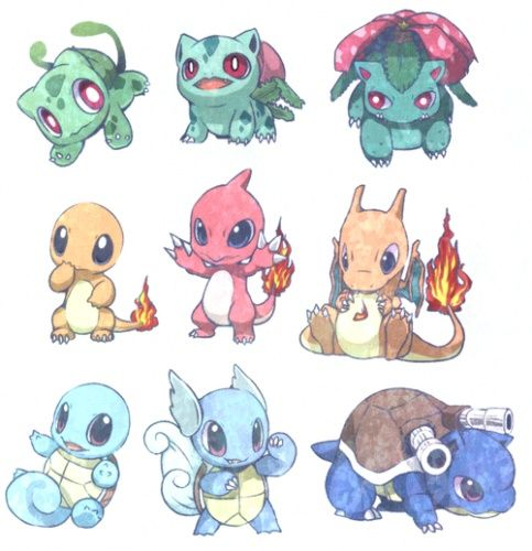 Pokemon 1st Generation Starters And Their Evolutions