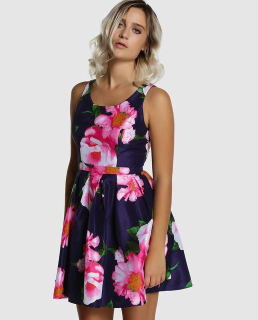 Vestido corto de mujer Fórmula Joven de flores