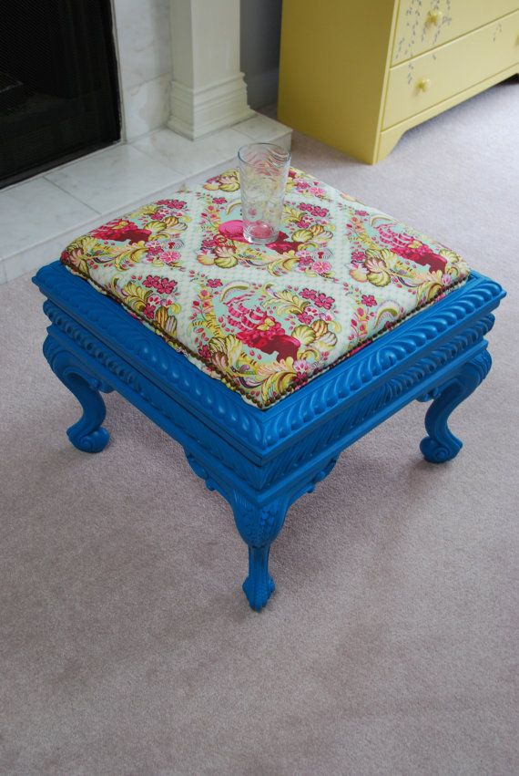 Storage Ottoman With Colourful Cushion Top By Madeuniquevancouver