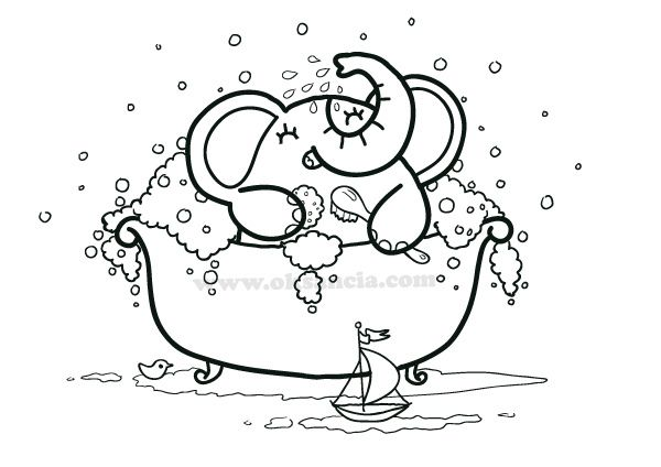 Bath Time Coloring Page From Rondy The Elephant First Printable