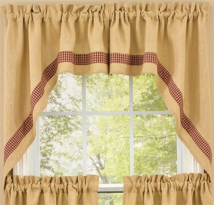 Red Burlap & Check Window Curtain Swag 72 X 36