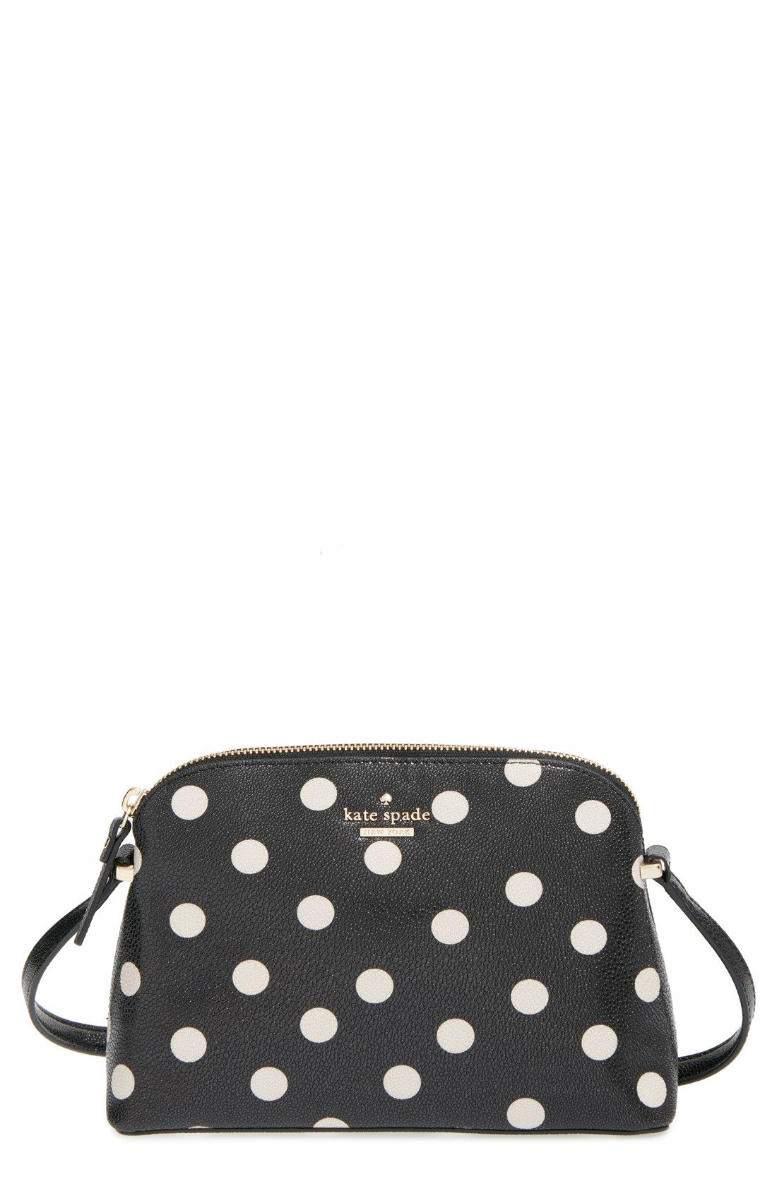 Black and white polka dots add flair to this Kate Spade crossbody ... e7cd4bbb66