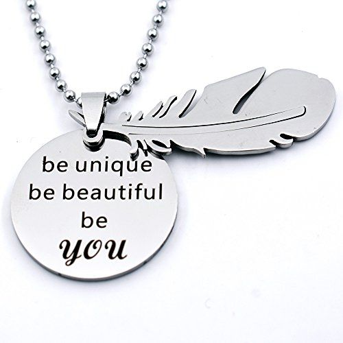 N.egret Vintage Angel Feather Pendant Necklace Life Quote Chain Fashion Jewelry Gift For kits Mothers Day gift