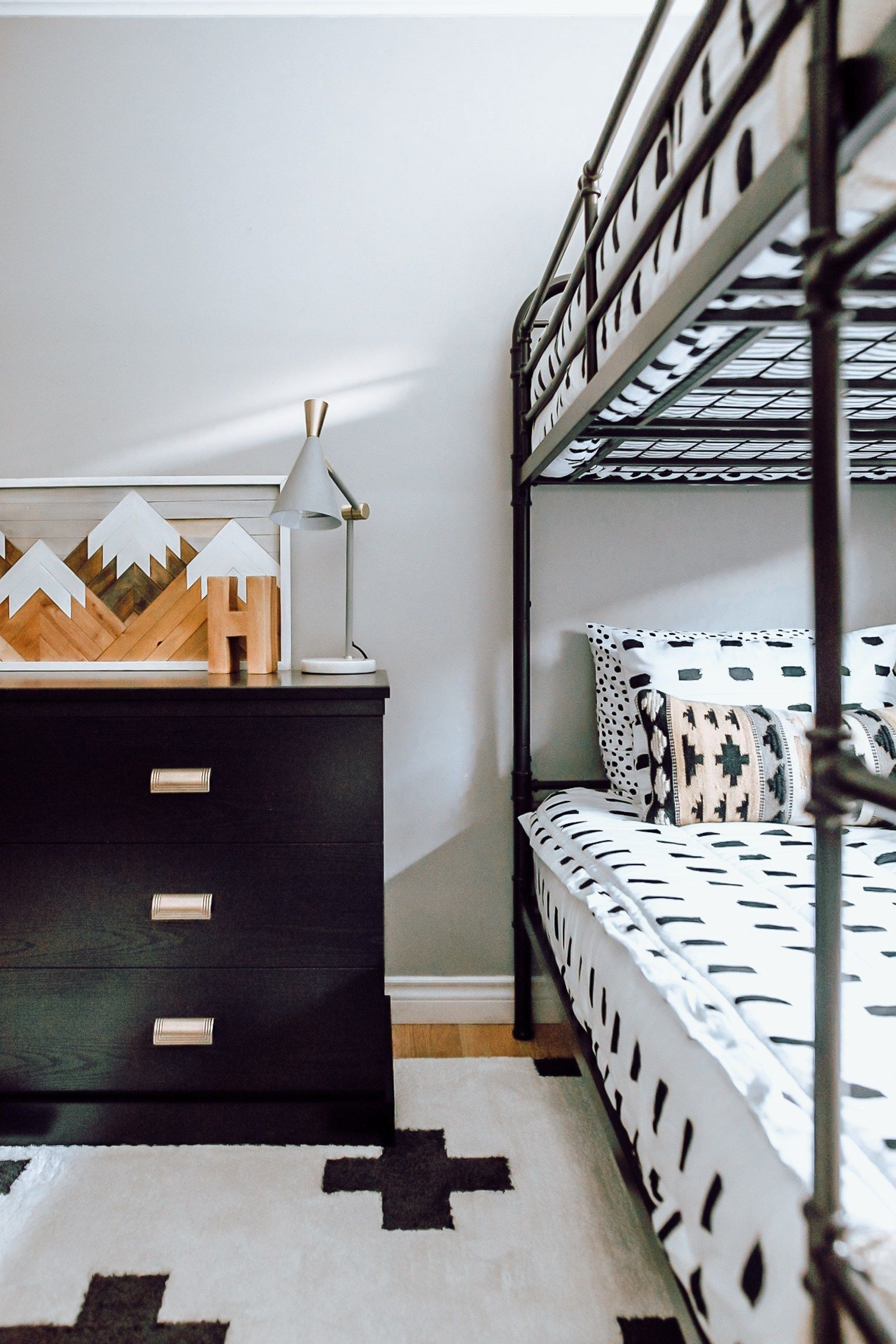 Bunk beds finished! Inexpensive metal white bunk bed