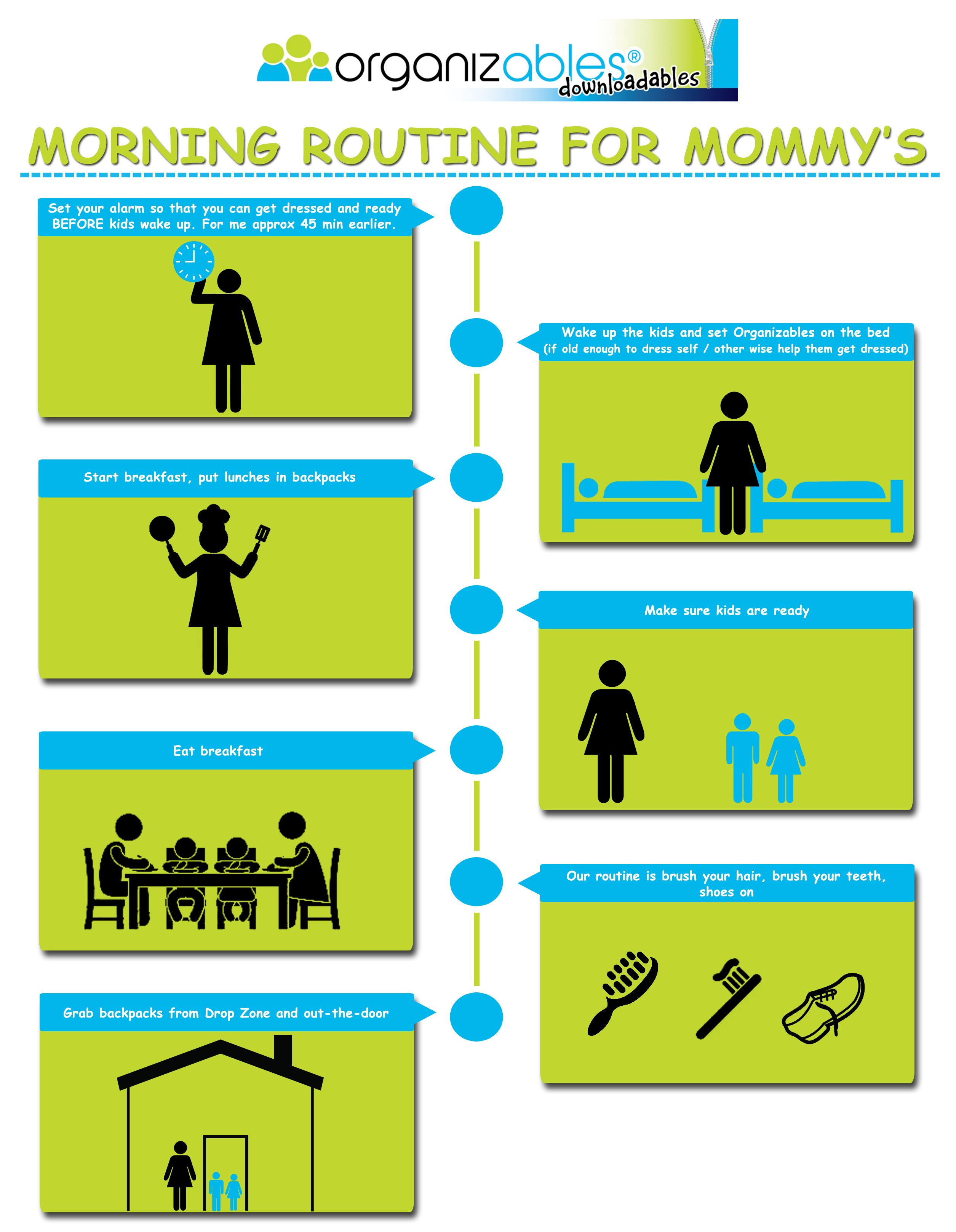 Morning routine for Mommy's. If Mom is organized you will have a smooth and peaceful morning!