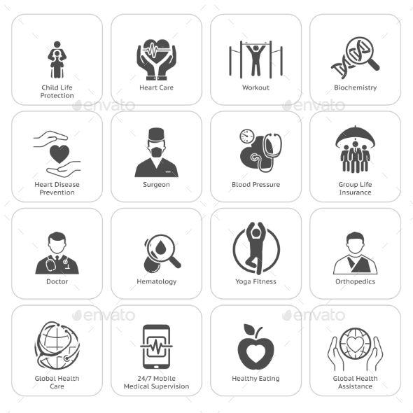 Medical And Health Care Icons Set Flat Design Icon Set Identity Design Logo Icon Design Inspiration