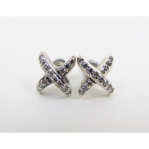 David Yurman Sterling Silver Diamond X Stud Earrings Moshposh