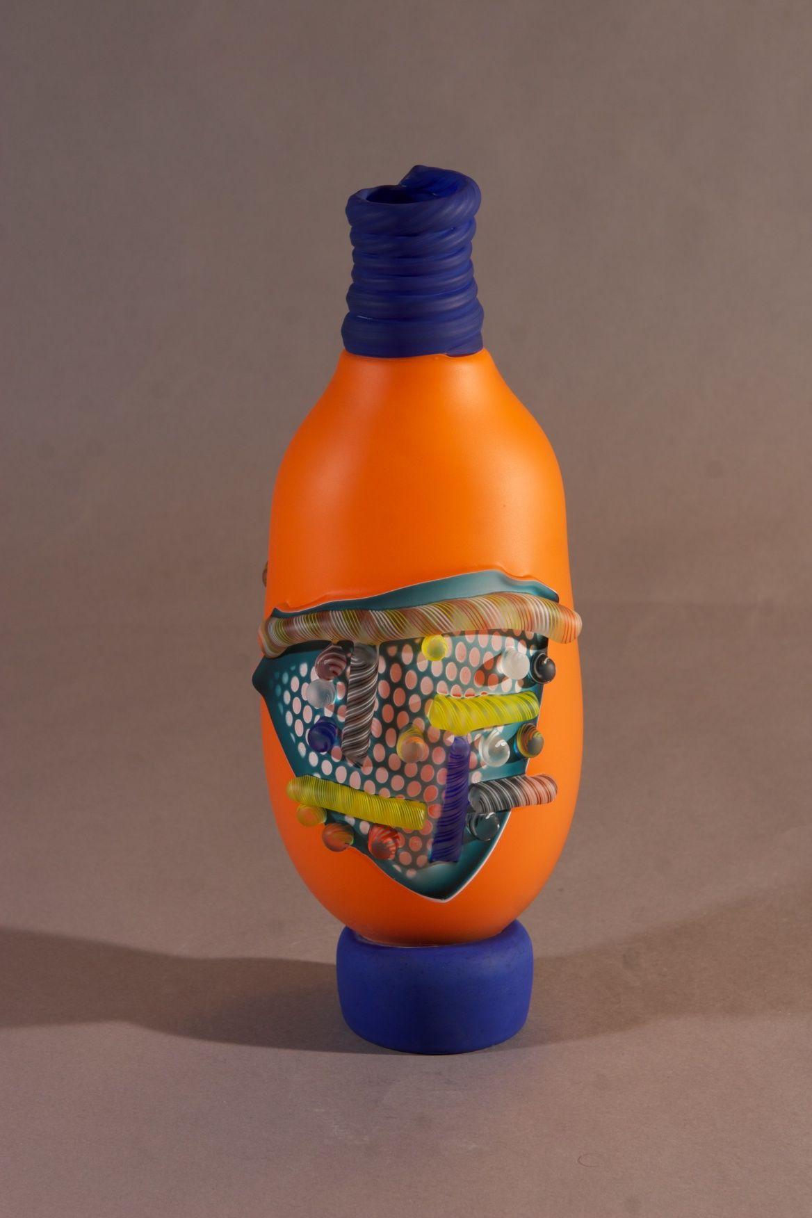 Shard Bottle Orange with Cobalt Blue Lip Wrap | James Wilbat Glass Studio