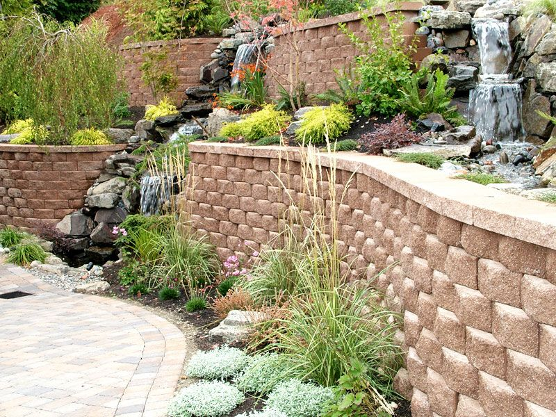 Retaining wall with waterfall into planter landscaping for Tiered pond waterfall