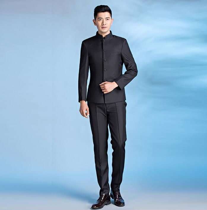 >> Click to Buy << Chinese tunic suit set mens stand collar slim chinese style groom wear tang suits mens tunic suit chinese collar suit black  #Affiliate