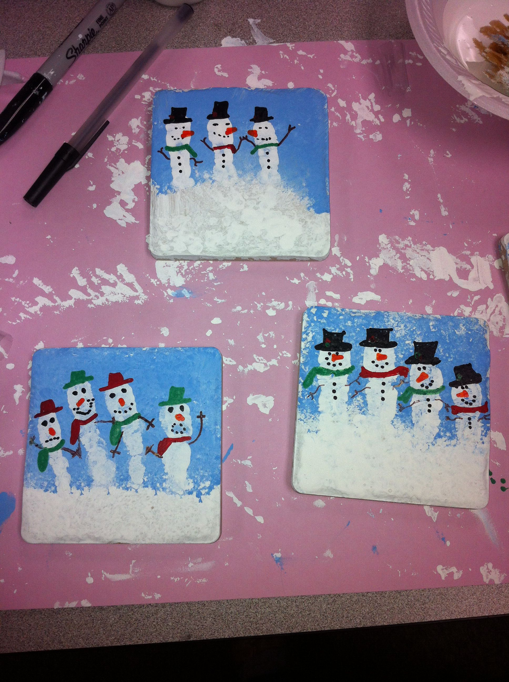 Finger Painted Snowmen Coaster Tiles Great Kid Projects To Do In Classroom It S A Lo Preschool Christmas Christmas Crafts For Kids Preschool Christmas Crafts