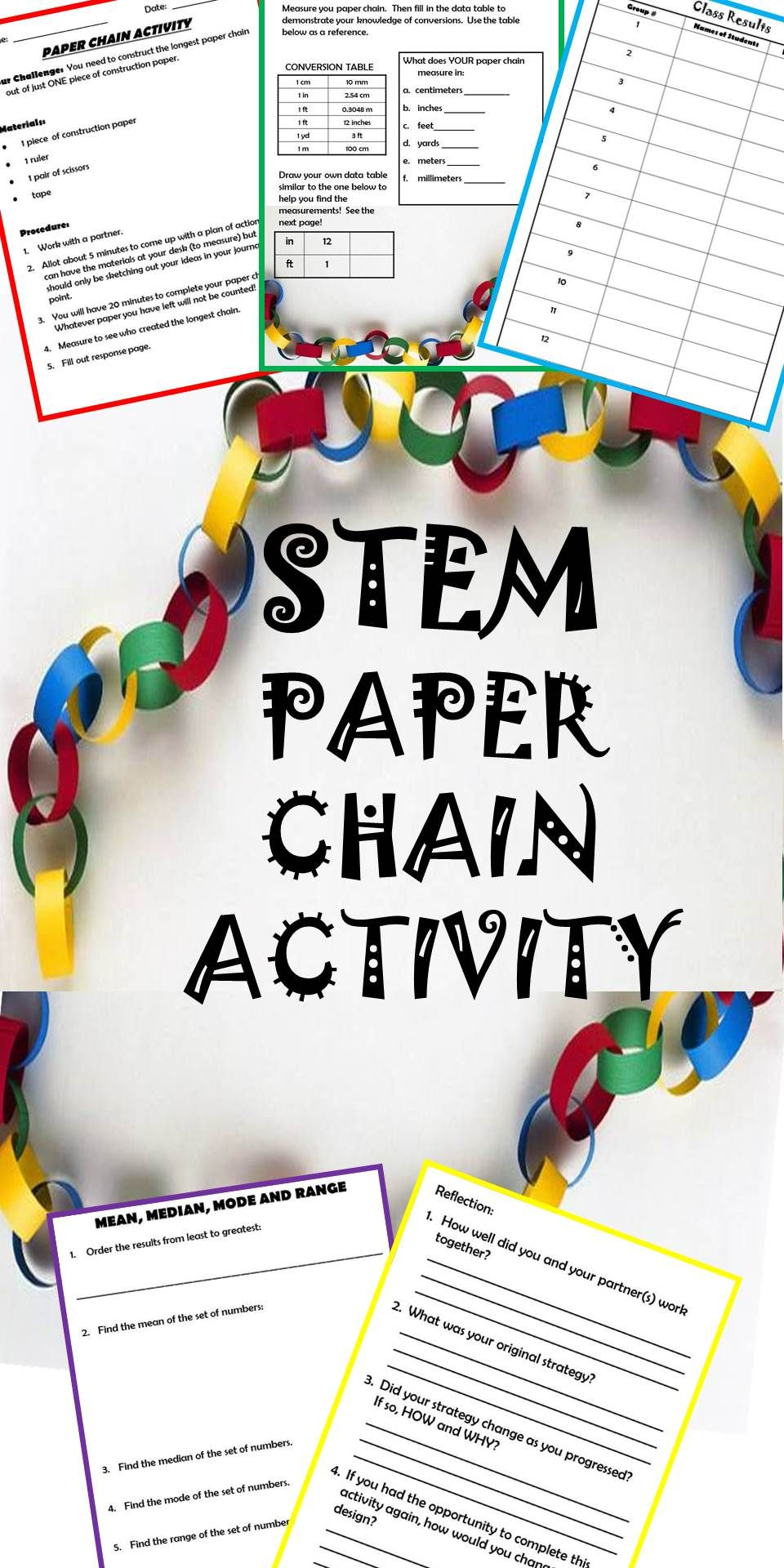 back to school stem activity paper chain math challenge stem stem activities paper chains. Black Bedroom Furniture Sets. Home Design Ideas