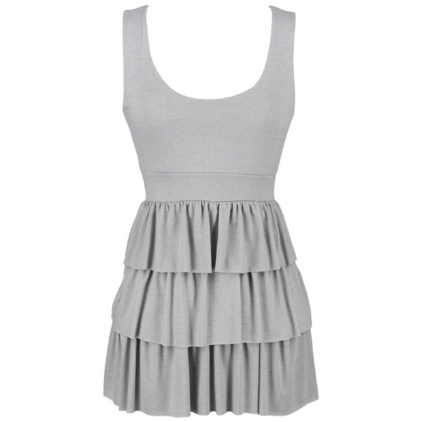 Ruffle Tank Tunic in Grey - Shirts - Shop By Category ($9) ❤ liked on Polyvore featuring tops, dresses, shirts, tank tops, tanks, ruffle shirt, gray top, flounce tops, frill top and frill shirt