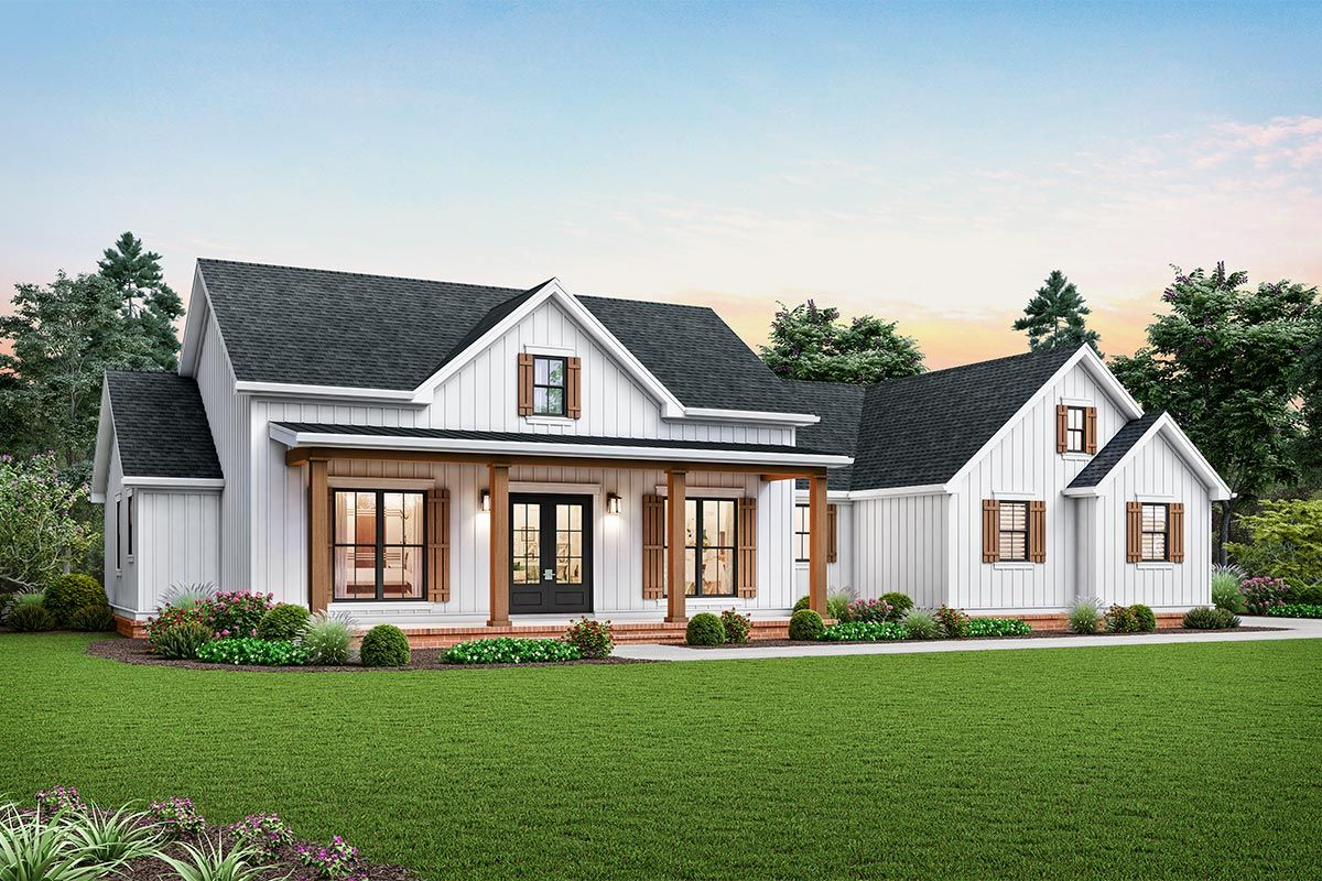 Plan 69755AM: Modern Farmhouse Plan with Vaulted Great Room and Outdoor Living Area