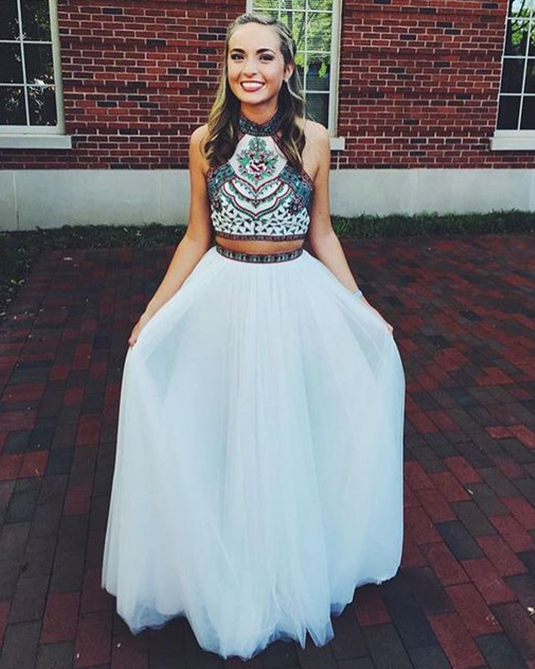 db643f7f4bf Cute Halter Neck White Open Back Two Piece Tulle Prom  Homecoming Dress  with Embroidery HC0039