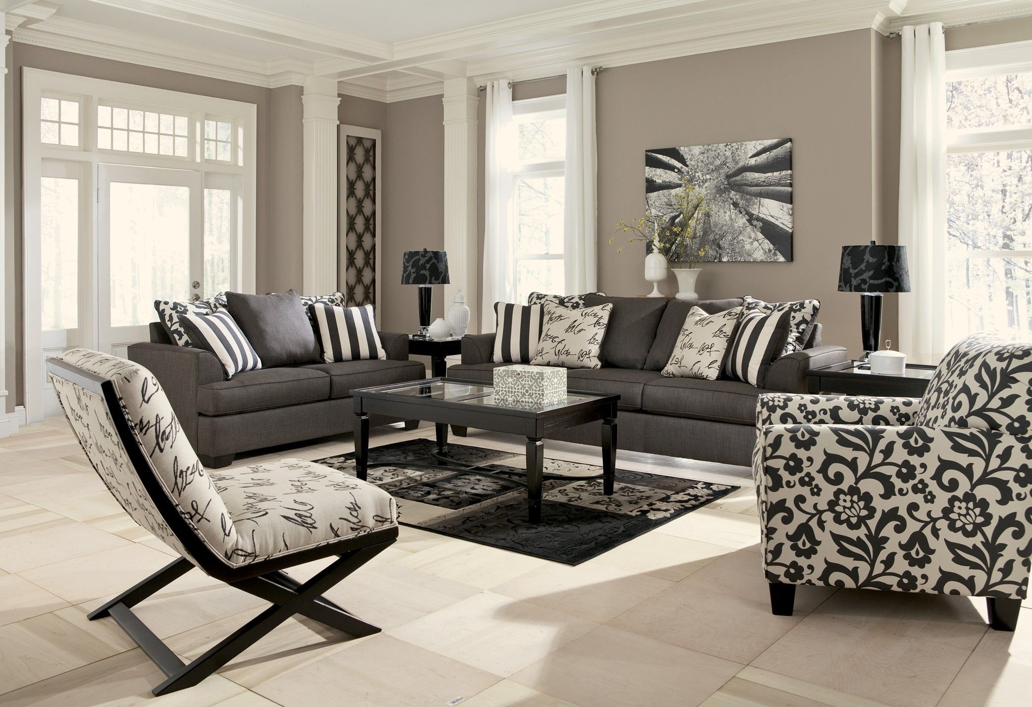 Ashley Furniture Living Room Sets Part - 40: ... Design That Perfectly Utilizes Both Style And Comfort, The Levon  Charcoal Living Room Set By Signature Design By Ashley Furniture Features  Plush Boxed