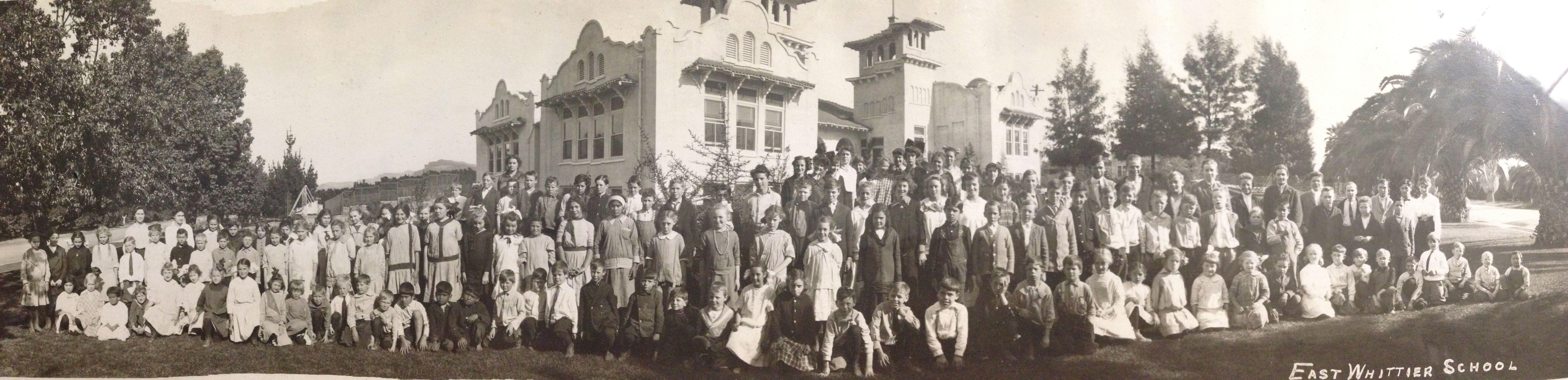 East Whittier School -picture shows an early Whittier class of school children from the East Whittier School.