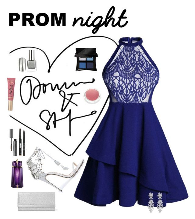 """""""Prom Night"""" by ljano ❤ liked on Polyvore featuring Marchesa, Jimmy Choo, Illamasqua, rms beauty, Too Faced Cosmetics, Bobbi Brown Cosmetics, Thierry Mugler and PROMNIGHT"""