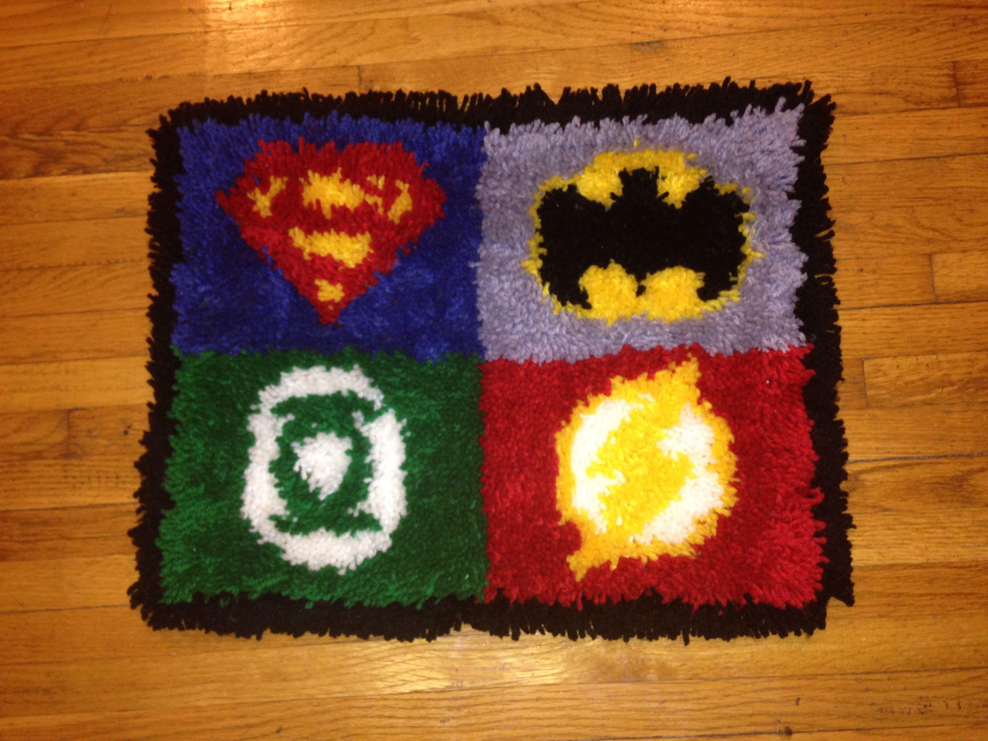 Super Hero Logo Latch Hook Rug Super Hero Baby Room