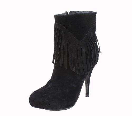 Elegant  ELEGANT CALISTA-1 women's round toe platform ankle bootie on stiletto heels with plain micro suede upper and fringes
