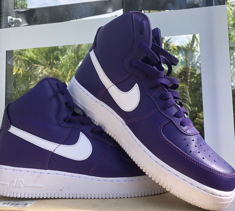 best service beb9f 6f915 Nike Air Airforce 1 High Top Man Shoes Purple  White Size10   eBay