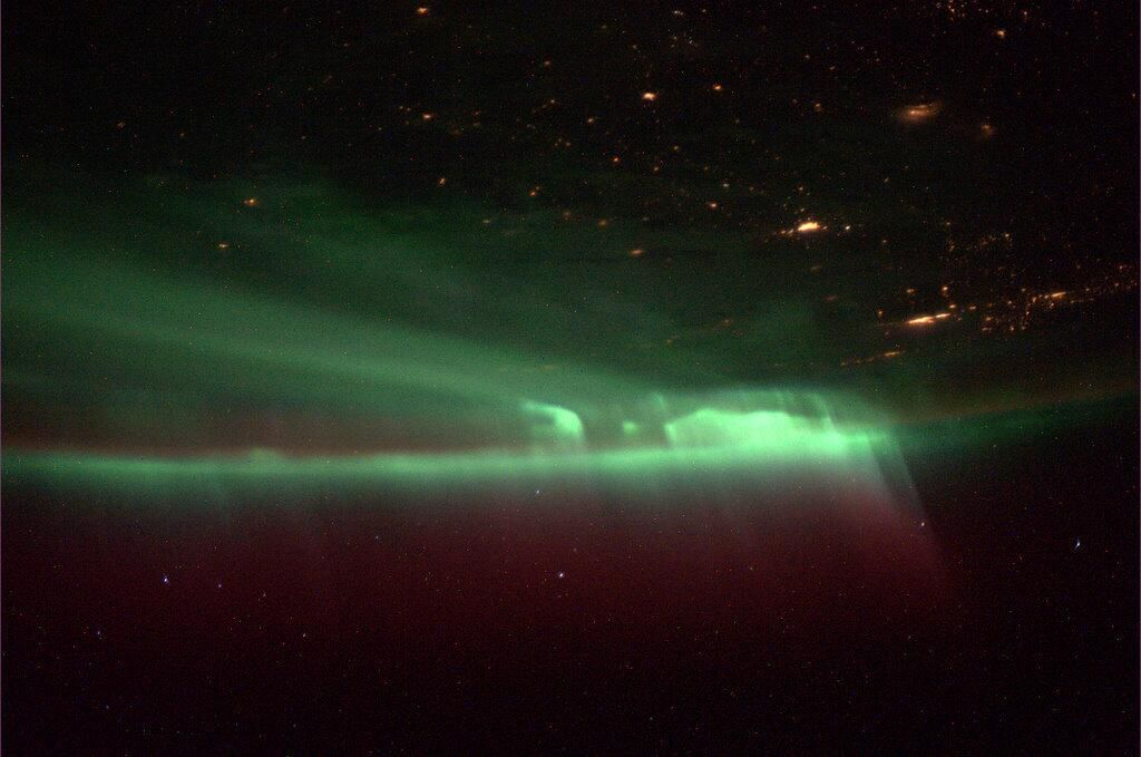 NASA astronaut Mike Hopkins, Expedition 37 flight engineer, posted this photo of the northern lights from space on Oct. 9, 2013 from his home on the International Space Station.
