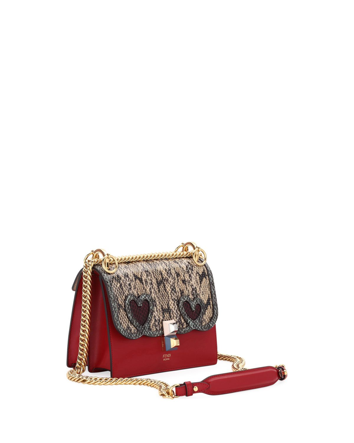 d5d3d76437 Fendi Kan I Small Calf and Snake Shoulder Bag