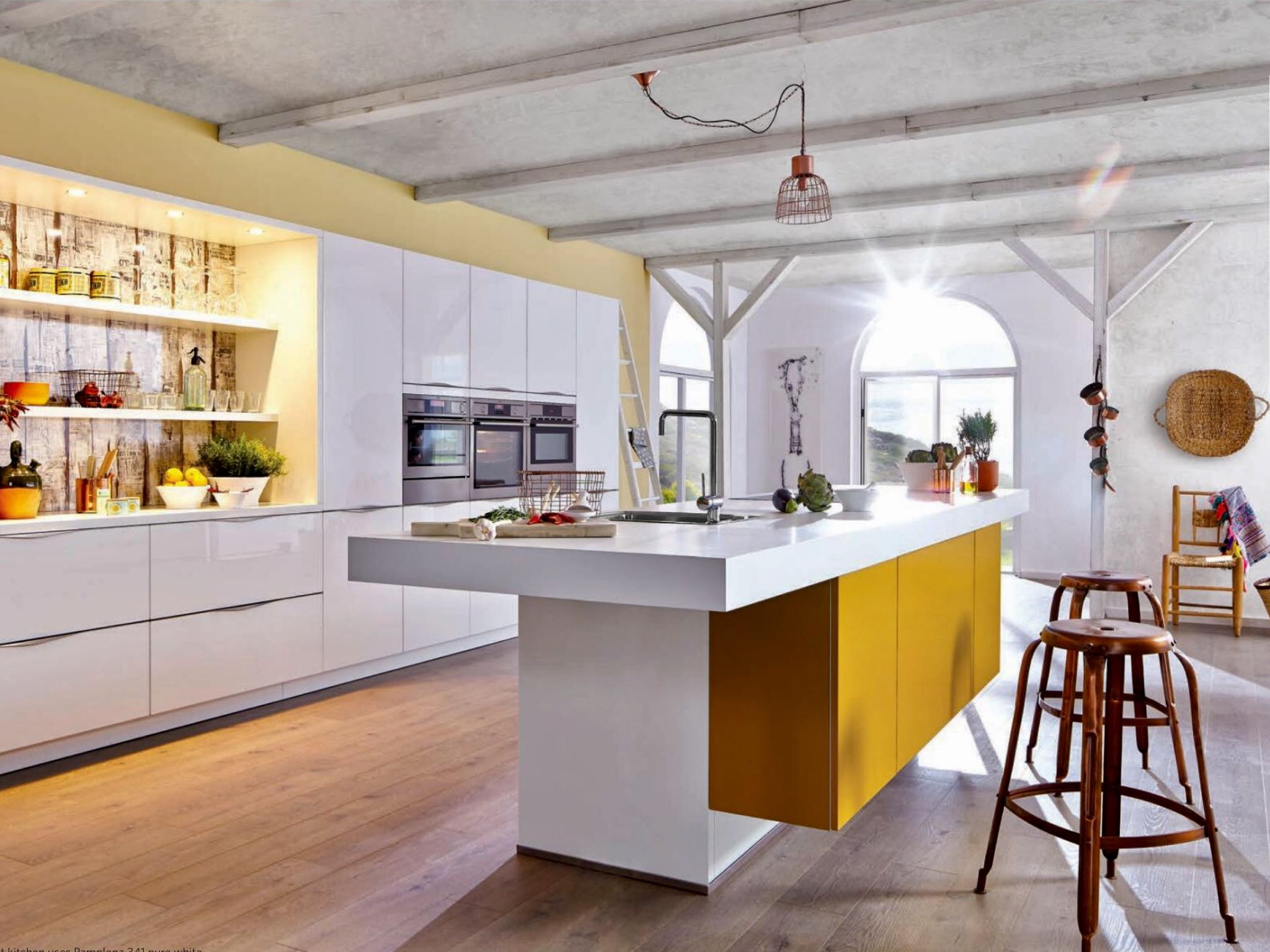 German Kitchen With Egg Yolk Yellow