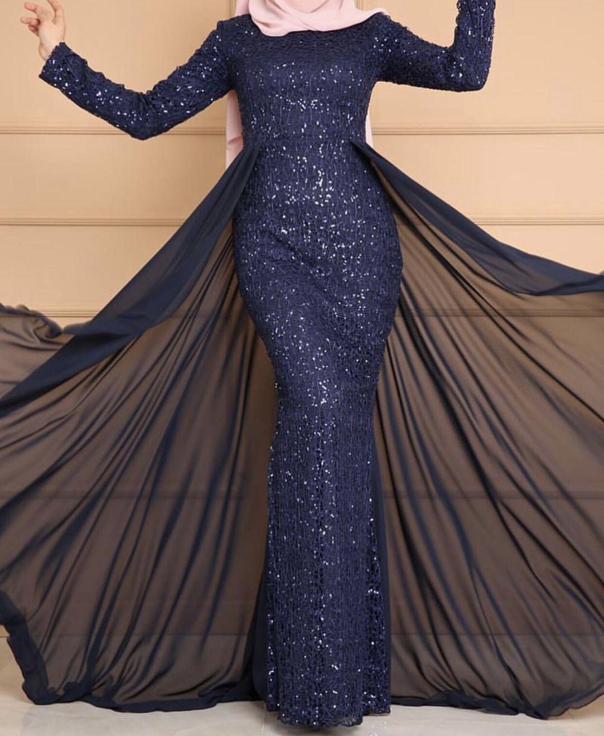 Navy Gown 900 Latest Bridesmaid Dresses Muslim Prom Dress Hijabi Gowns