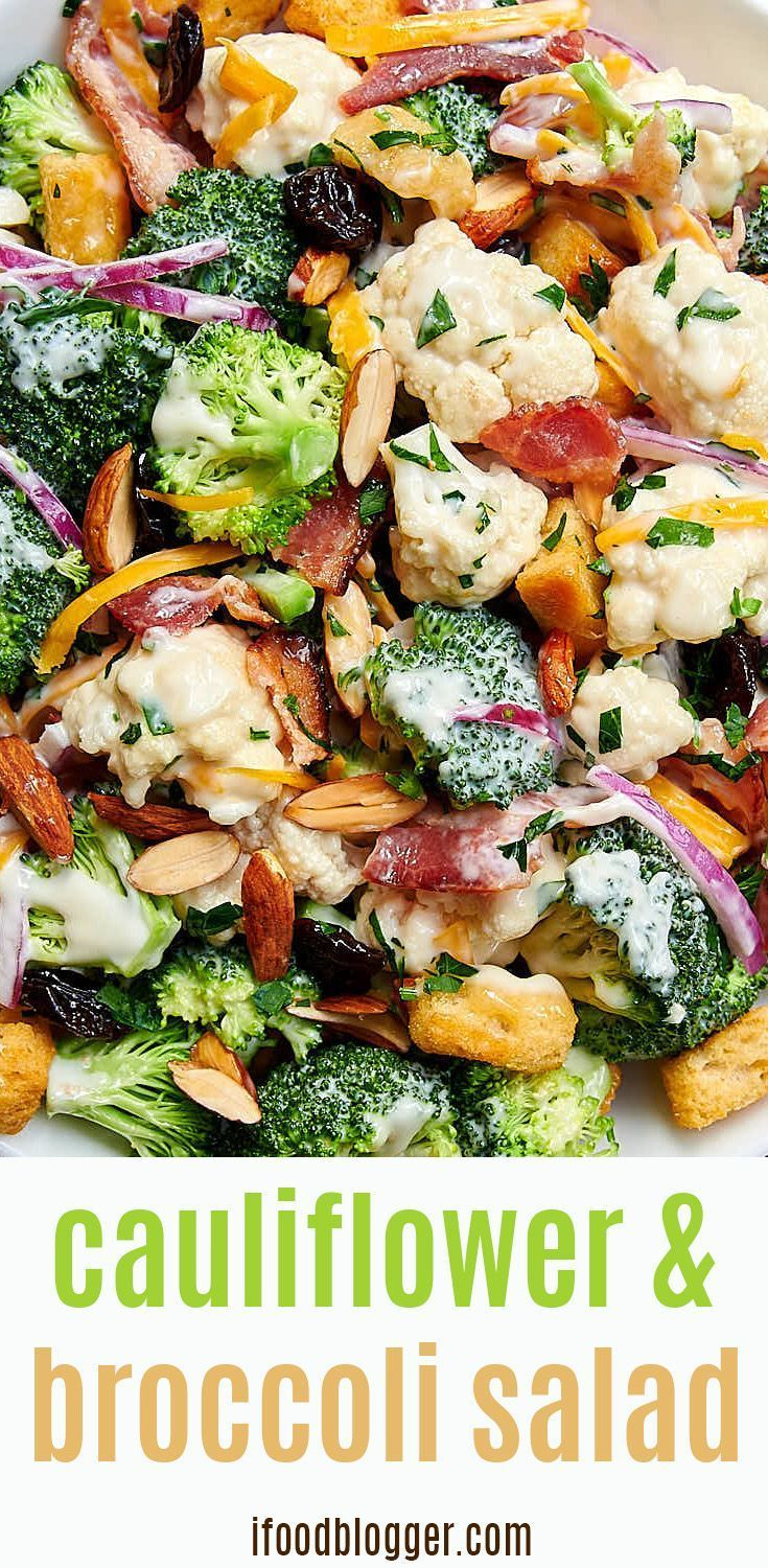 Broccoli and cauliflower salad with a creamy dressing with toasted almonds bacon bits cheddar and dried cherries  salad Broccoli and Cauliflower Salad  Craving Tasty
