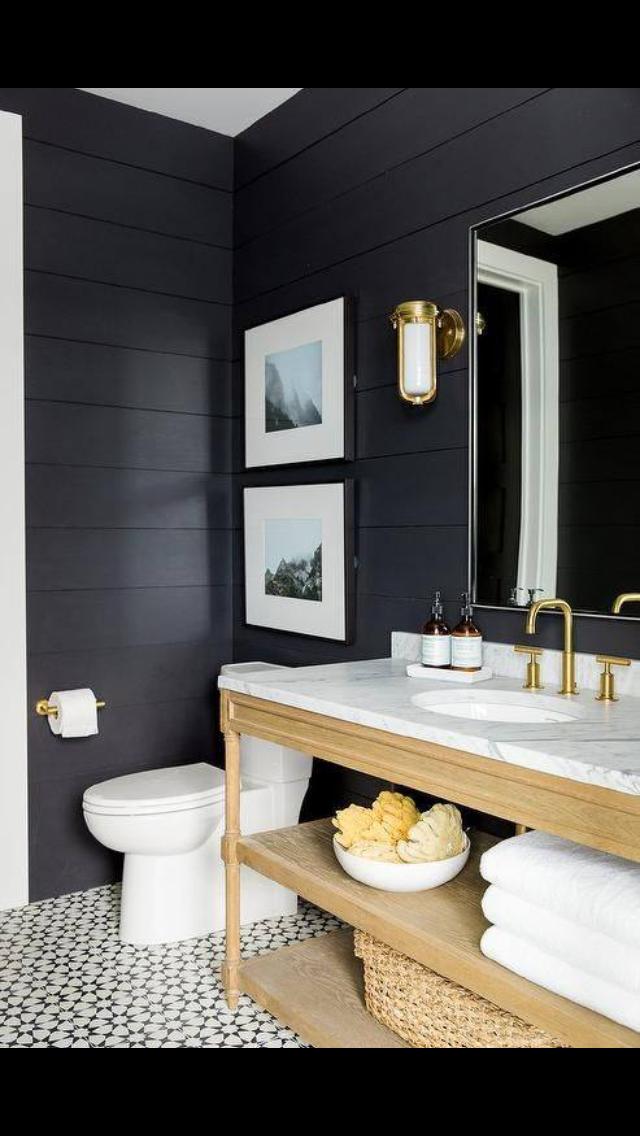 Bathroom Ideas With Dark Walls And Light Wood Modern Farmhouse Bathroom Bathroom Interior Bathroom Design