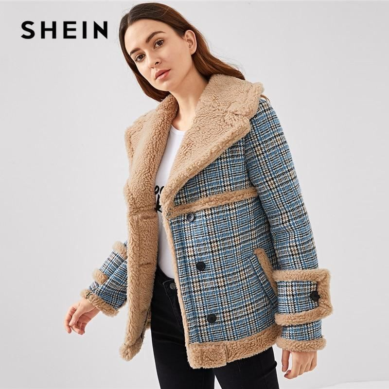 9edfecac2b Single- Breasted Faux Fur Plaid Coat by SHEIN - Womens Tweed Outerwear  Jacket #fashion