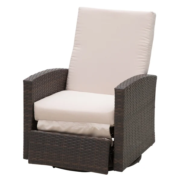 Outsunny Rattan Wicker Swivel Rocking Outdoor Recliner Lounge Chair Rattan Reclining Deck Chair Aosom Com In 2020 Outdoor Recliner Beige Cushions Outdoor Swivel Chair