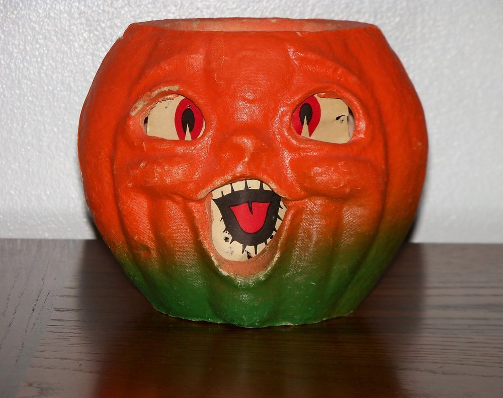 Vintage Halloween PAPER MACHE PUMPKIN Jack O Lantern JOL Original Insert 1940s